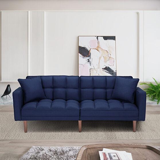 Futon sleeper sofa with 2 pillows navy blue fabric