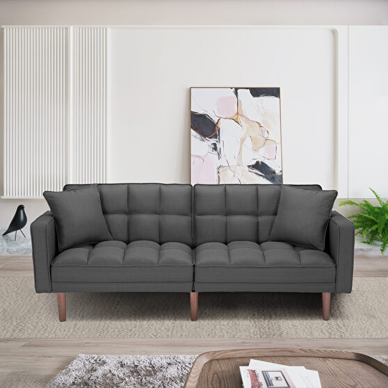 Futon sleeper sofa with 2 pillows dark gray fabric
