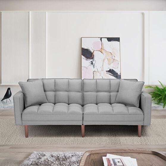 Futon sleeper sofa with 2 pillows light gray fabric