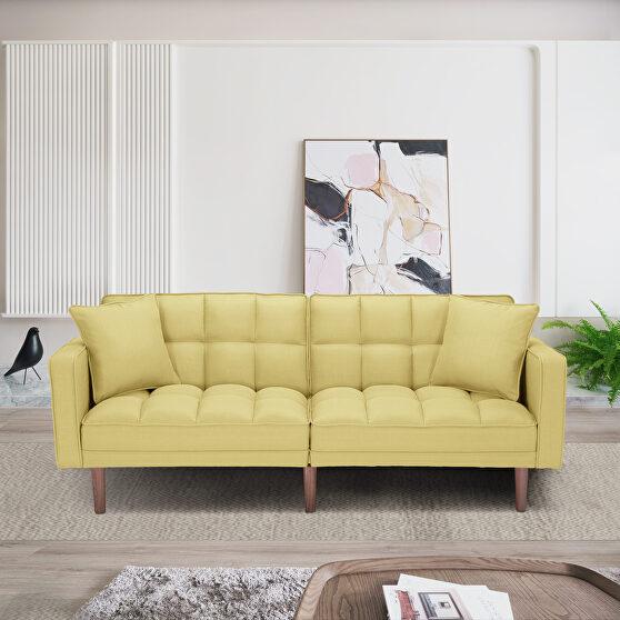 Futon sleeper sofa with 2 pillows yellow fabric
