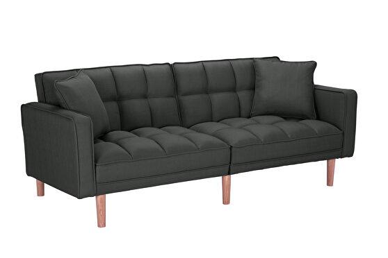 Futon sofa bed sleeper dark gray linen fabric