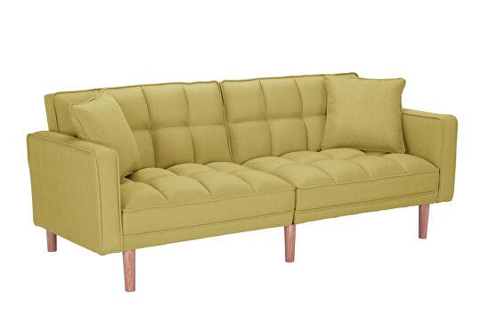 Futon sofa bed sleeper yellow linen fabric