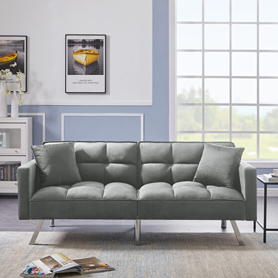 Futon sofa sleeper gray velvet