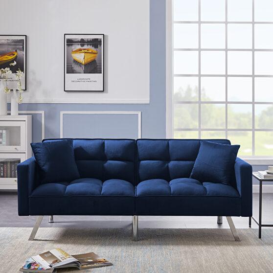 Futon sofa sleeper blue velvet