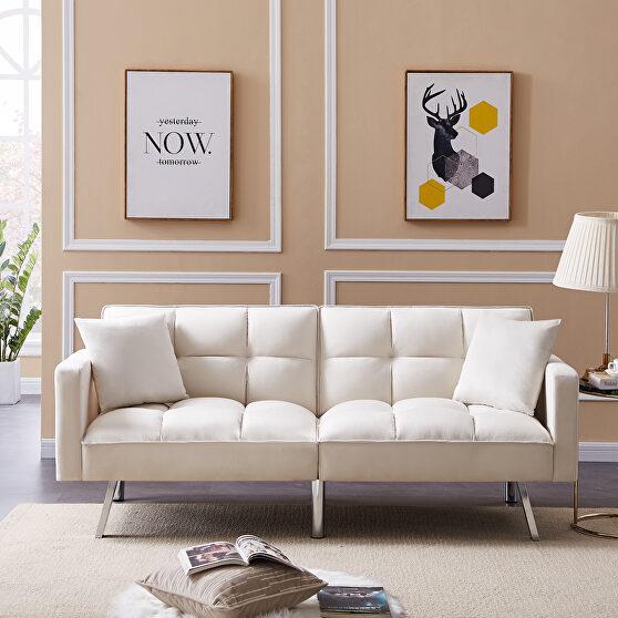 Futon sofa sleeper beige velvet