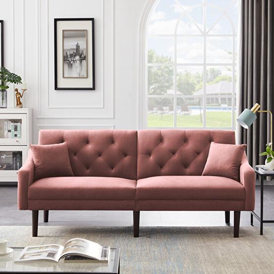 Futon sofa sleeper pink velvet with 2 pillows