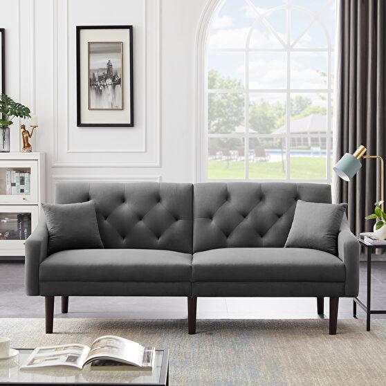 Futon sofa sleeper gray velvet with 2 pillows