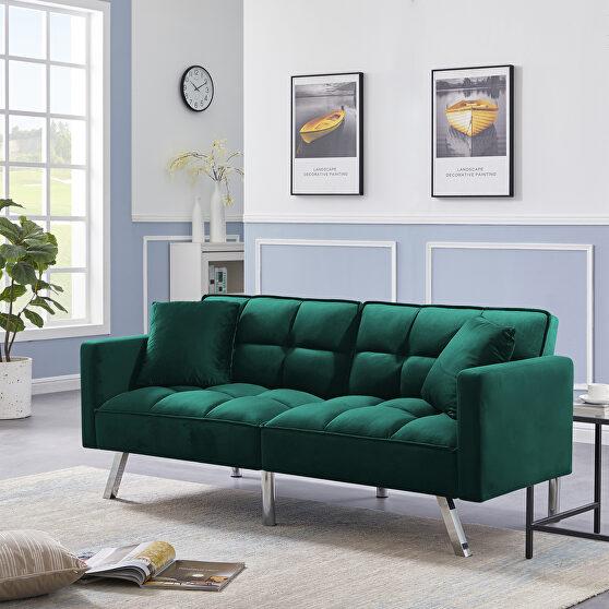 Futon sofa sleeper green velvet