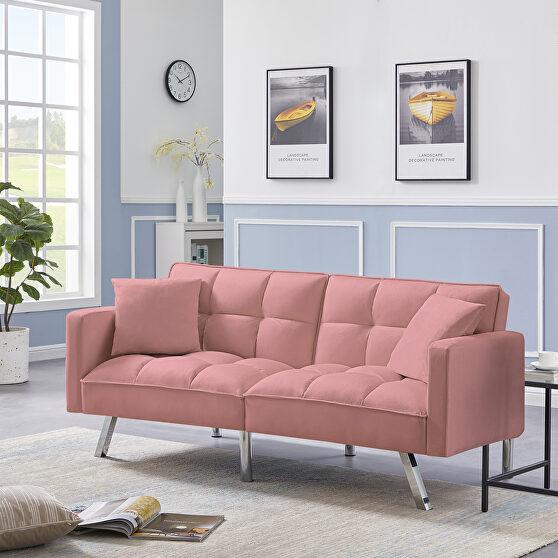 Futon sofa sleeper pink velvet