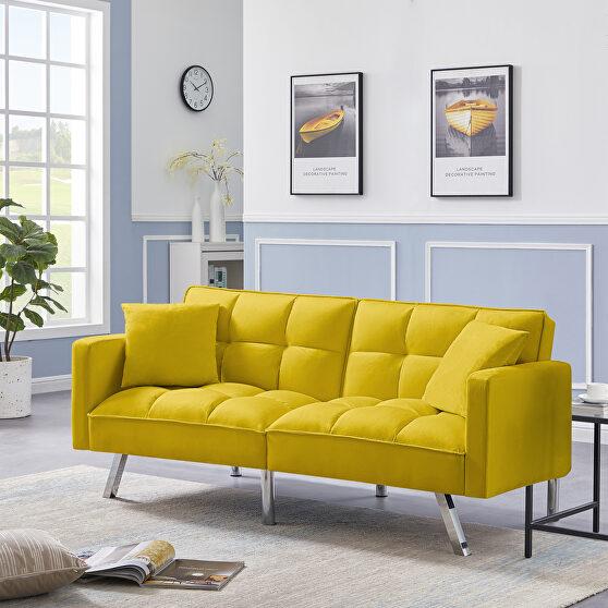 Futon sofa sleeper yellow velvet