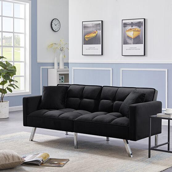 Futon sofa sleeper black velvet with 2 pillows