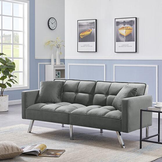 Futon sofa sleeper light gray velvet with 2 pillows