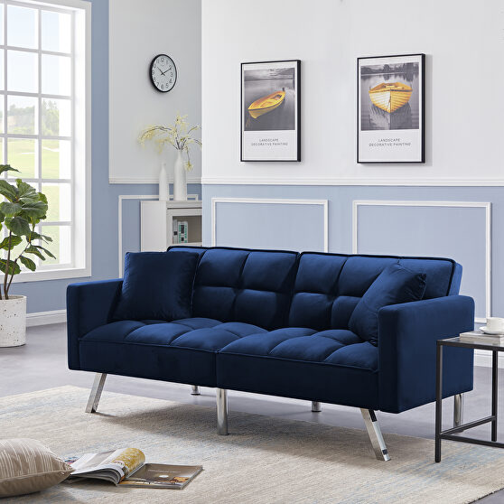 Futon sofa sleeper navy blue velvet with 2 pillows