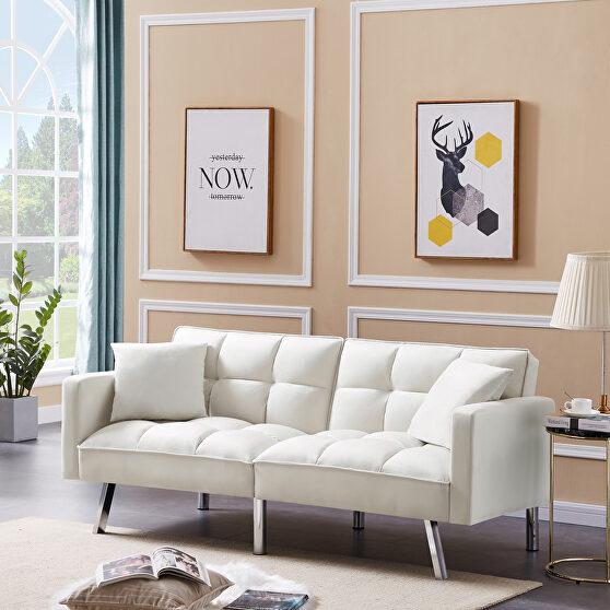 Futon sofa sleeper beige velvet with 2 pillows