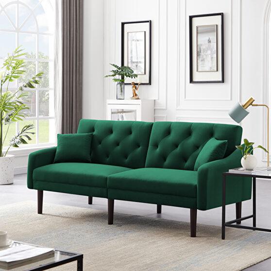 Futon sofa sleeper green velvet with 2 pillows