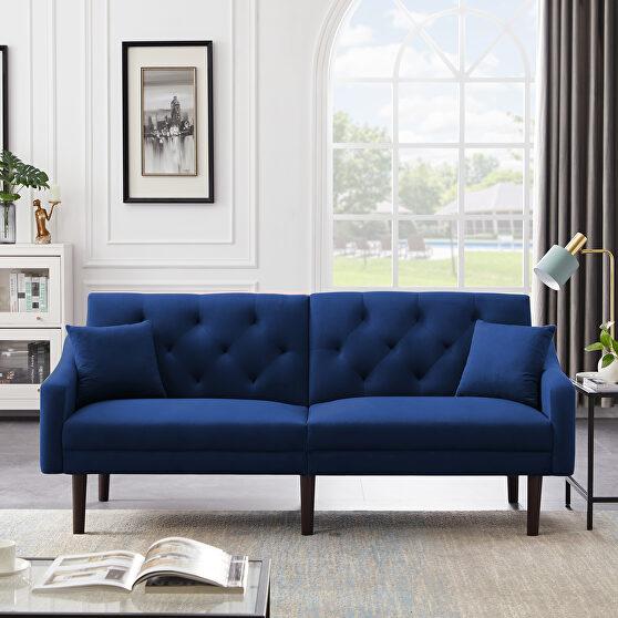 Futon sofa sleeper blue velvet with 2 pillows