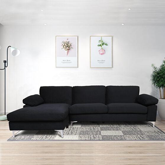 Sectional sofa black velvet left hand facing