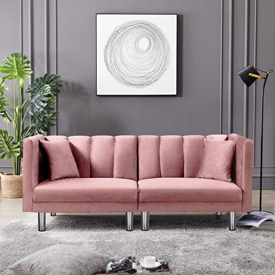Futon sofa sleeper pink velvet metal legs