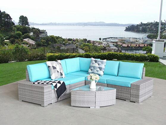 6 pcs outdoor patio pe rattan wicker sofa sectional furniture