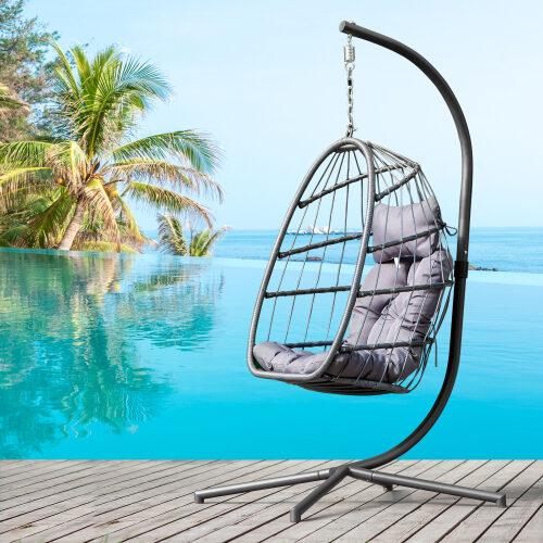 Indoor outdoor patio wicker hanging chair swing chair patio egg chair uv resistant gray cushion aluminum frame