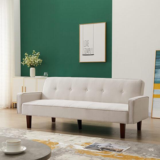 White linen upholstery sofa bed