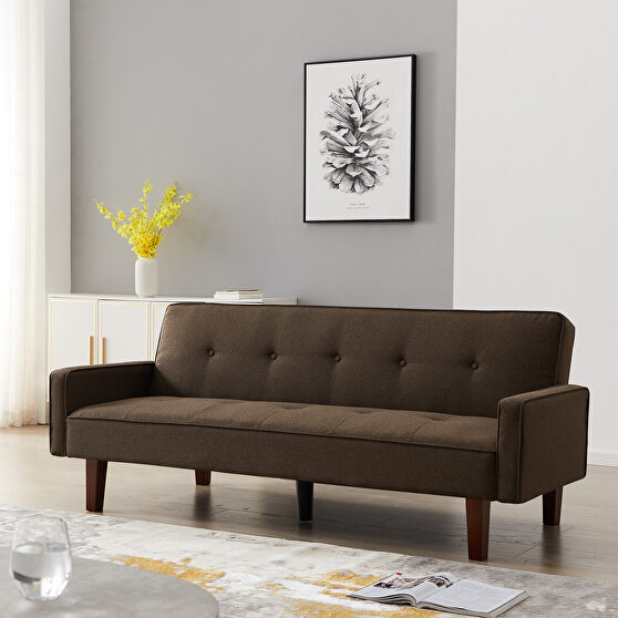 Brown linen upholstery sofa bed