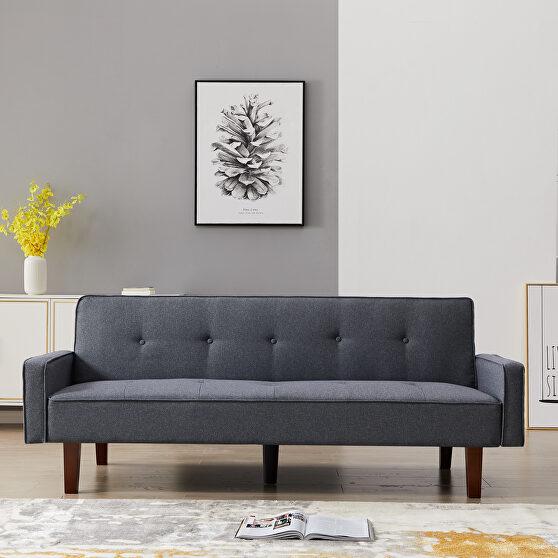 Dark gray linen upholstery sofa bed