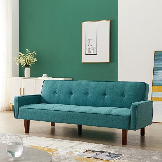 Green linen upholstery sofa bed