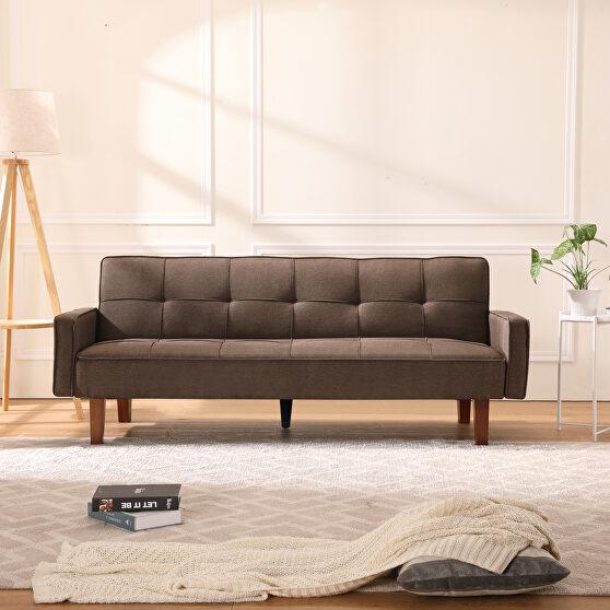 Living room brown linen sofa bed