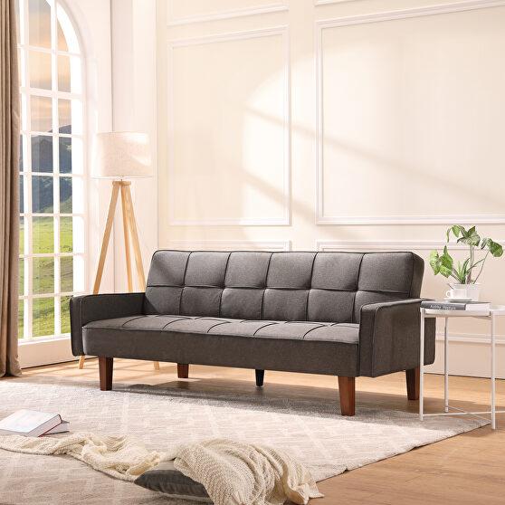 Living room gray linen sofa bed