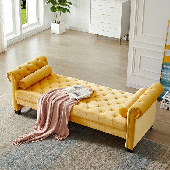 Yellow pleuche rectangular large sofa stool