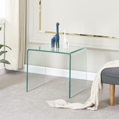 Tempered glass end table small coffee table