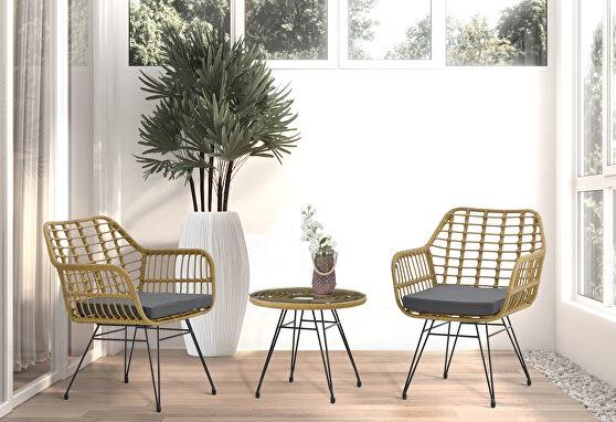 Modern rattan coffee chair table set 3 pcs, outdoor furniture rattan chair