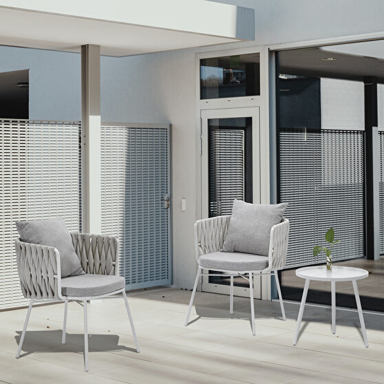High quality coffee table set indoor patio balcony outdoor white gray coffee chair 3pcs set
