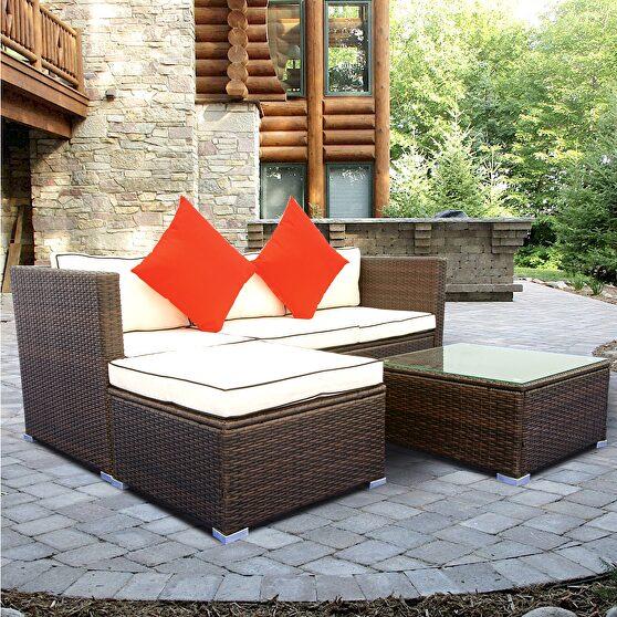 Creme cushion with black core patio sectional wicker rattan sofa 3 piece set