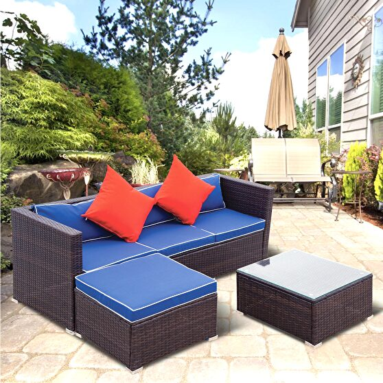 Blue cushion with white core patio sectional wicker rattan sofa 3 piece set