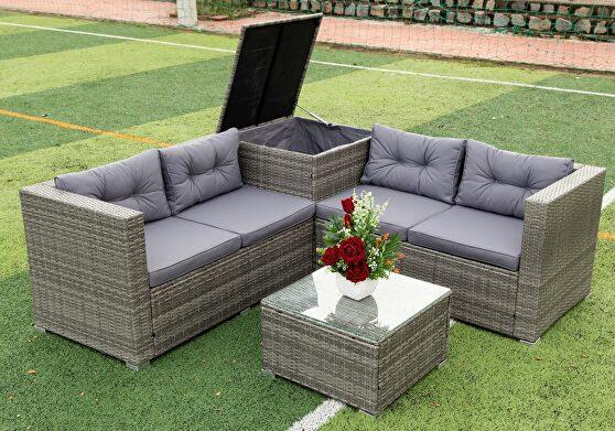 4 piece patio sectional wicker rattan outdoor furniture sofa set