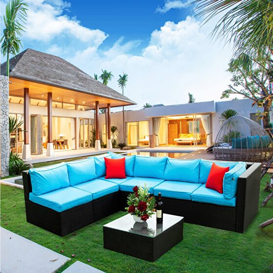 5 pieces pe rattan sectional outdoor furniture
