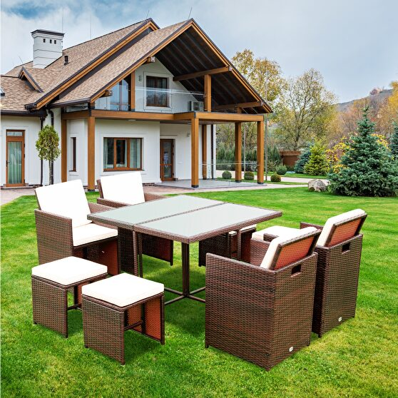 9 pieces patio dining sets outdoor rattan chairs with glass table