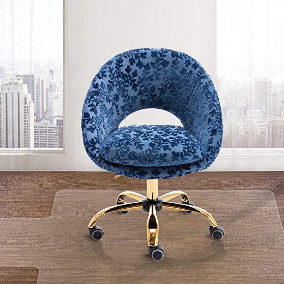 Modern leisure swivel office chair navy velvet