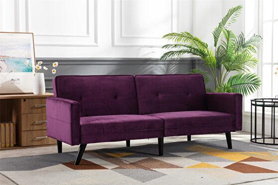 Purple velvet fabric sofa bed sleeper