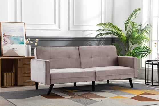Beige velvet fabric sofa bed sleeper