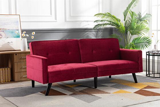 Red velvet fabric sofa bed sleeper