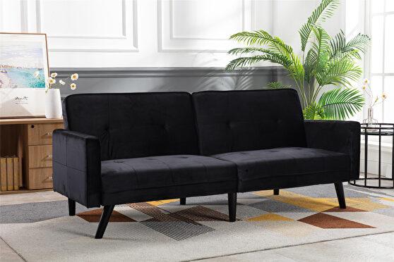 Black velvet fabric sofa bed sleeper