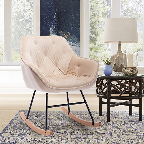 Comfortable rocking chair, beige accent chair
