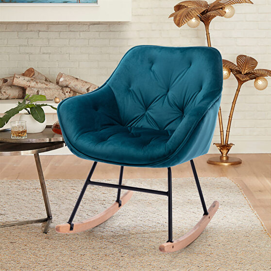Living room comfortable rocking teal accent chair