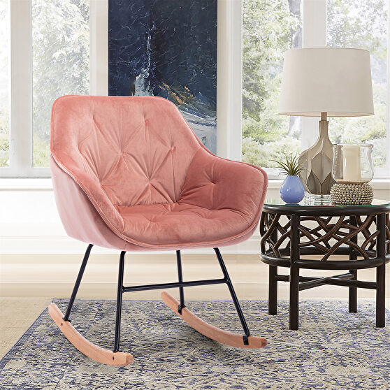 Pink velvet comfortable rocking accent chair