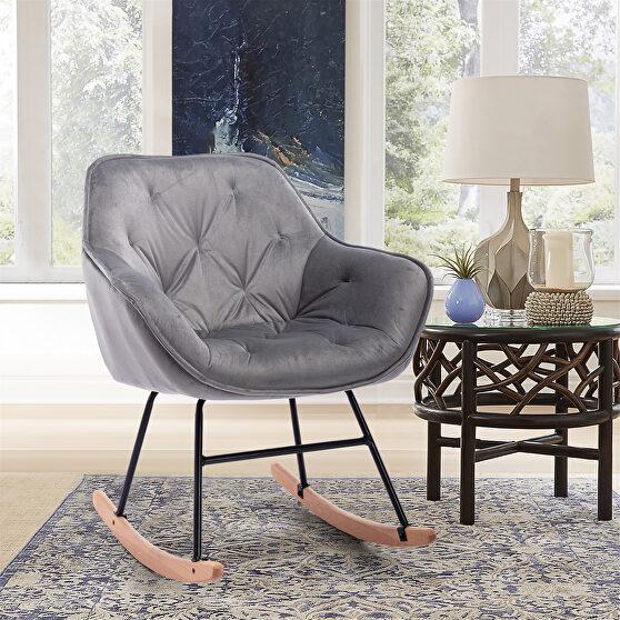 Gray velvet living room comfortable rocking accent chair