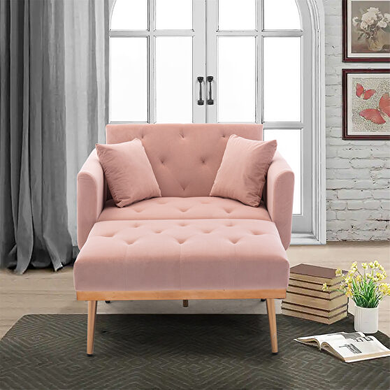 Pink velvet chaise lounge chair /accent chair
