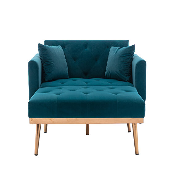 Blue velvet chaise lounge chair /accent chair